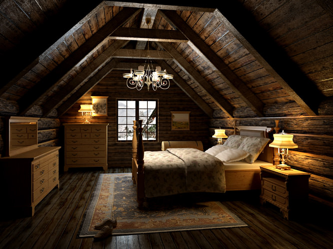 Wallpaper Teenage Girl Bedroom 3d Bedroom In The Attic Cgtrader