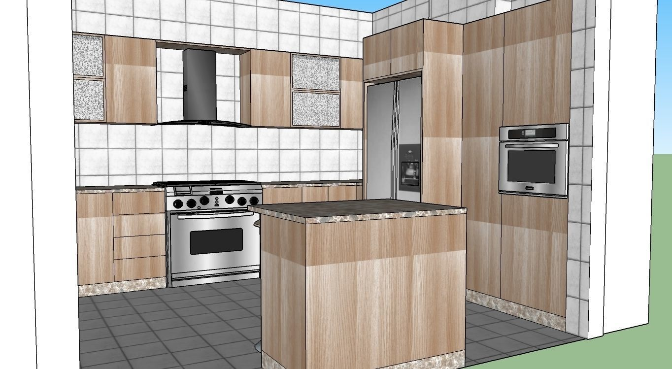 Kitchen Design 3d Model 3d Model A Kitchen Design With Island Cgtrader