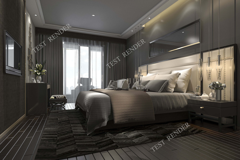 Fullsize Of Dark Modern Bedroom