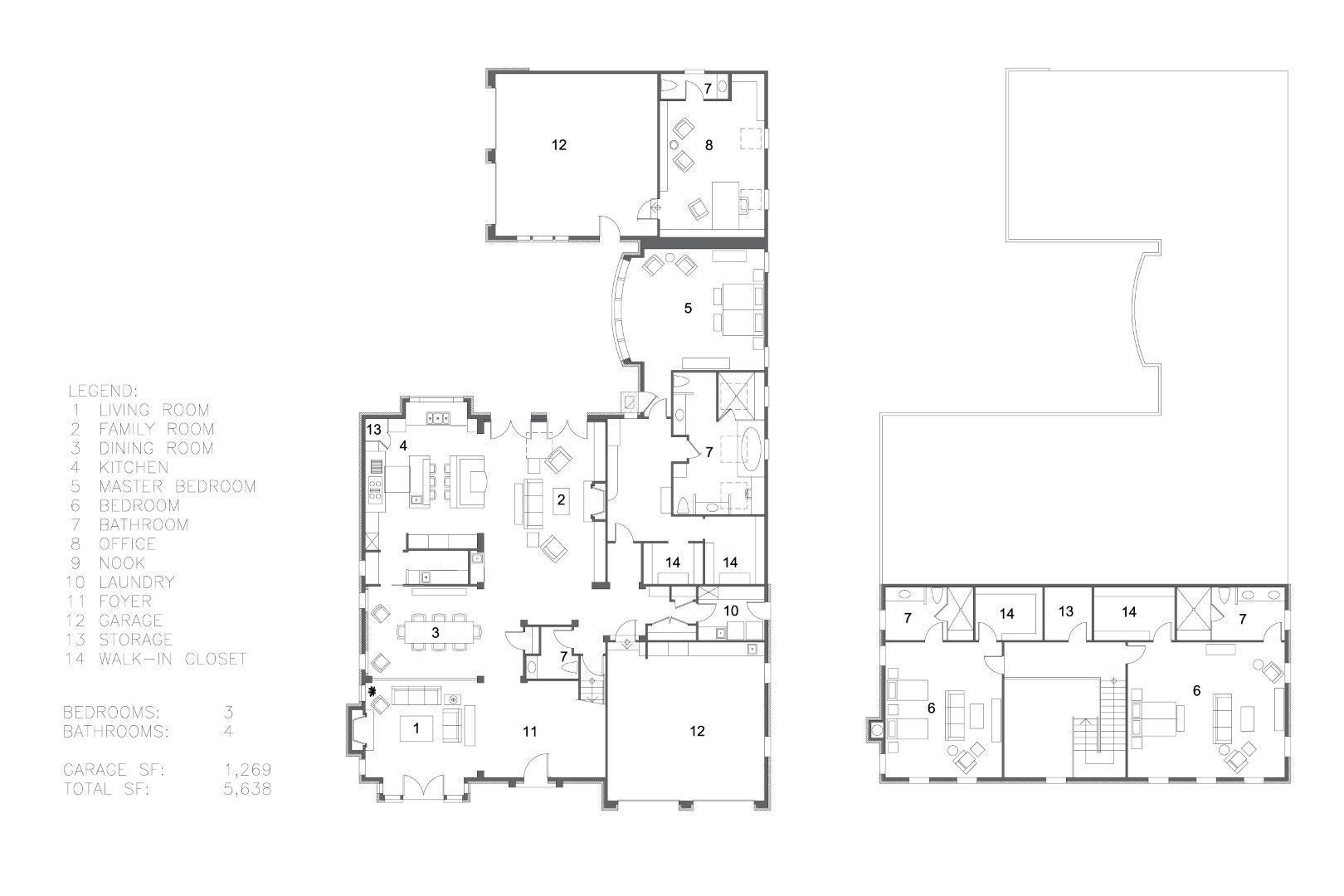 2??cad??? 2 Story Large Modern House With Cad Floor Plan 3d Model