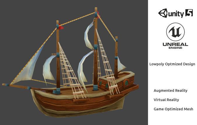 Lowpoly Cartoon Pirate Ship Textured 3D asset CGTrader