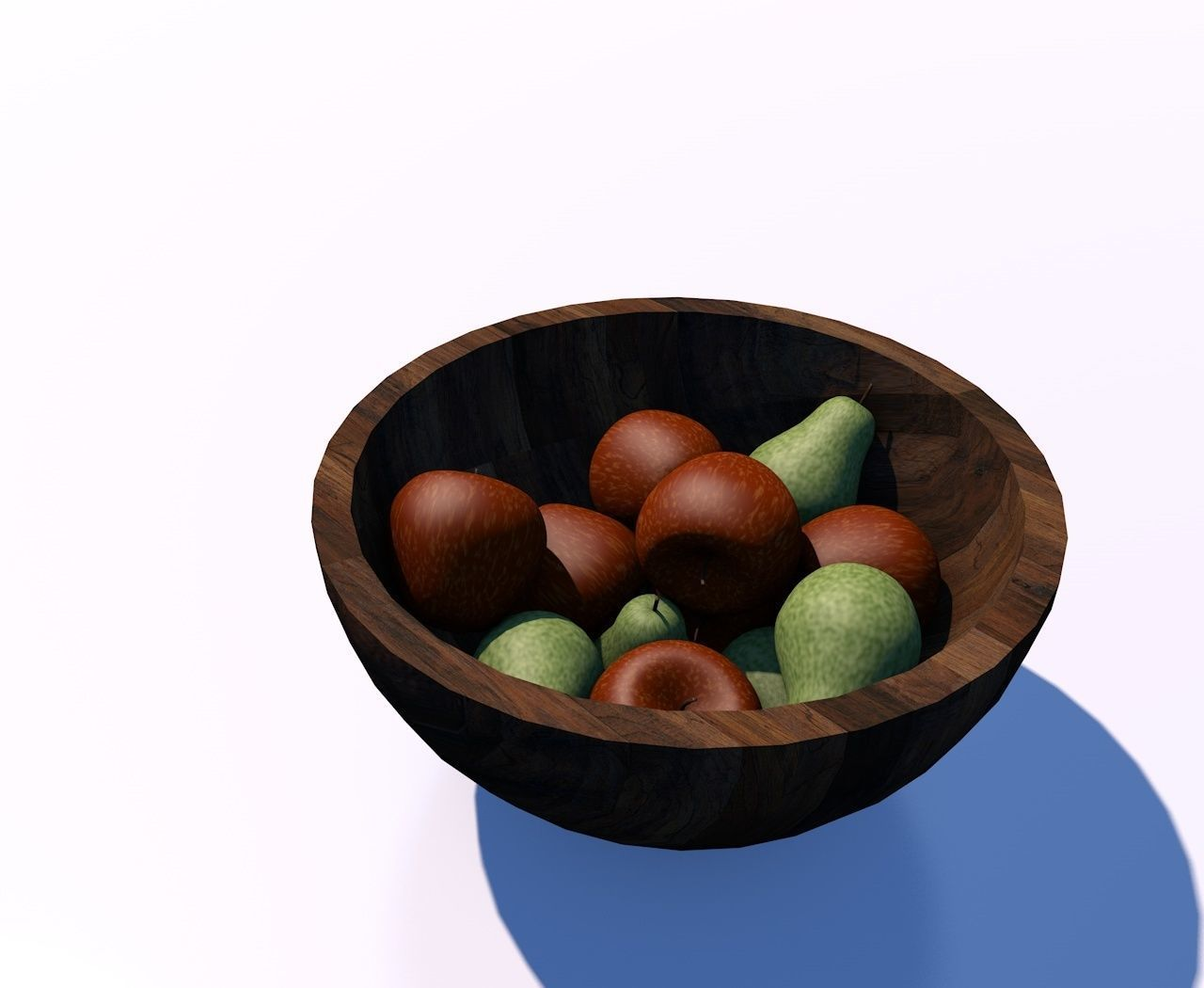 Bowl For Fruit Wooden Fruit Bowl With Green Pear And Red Apple 3d Model