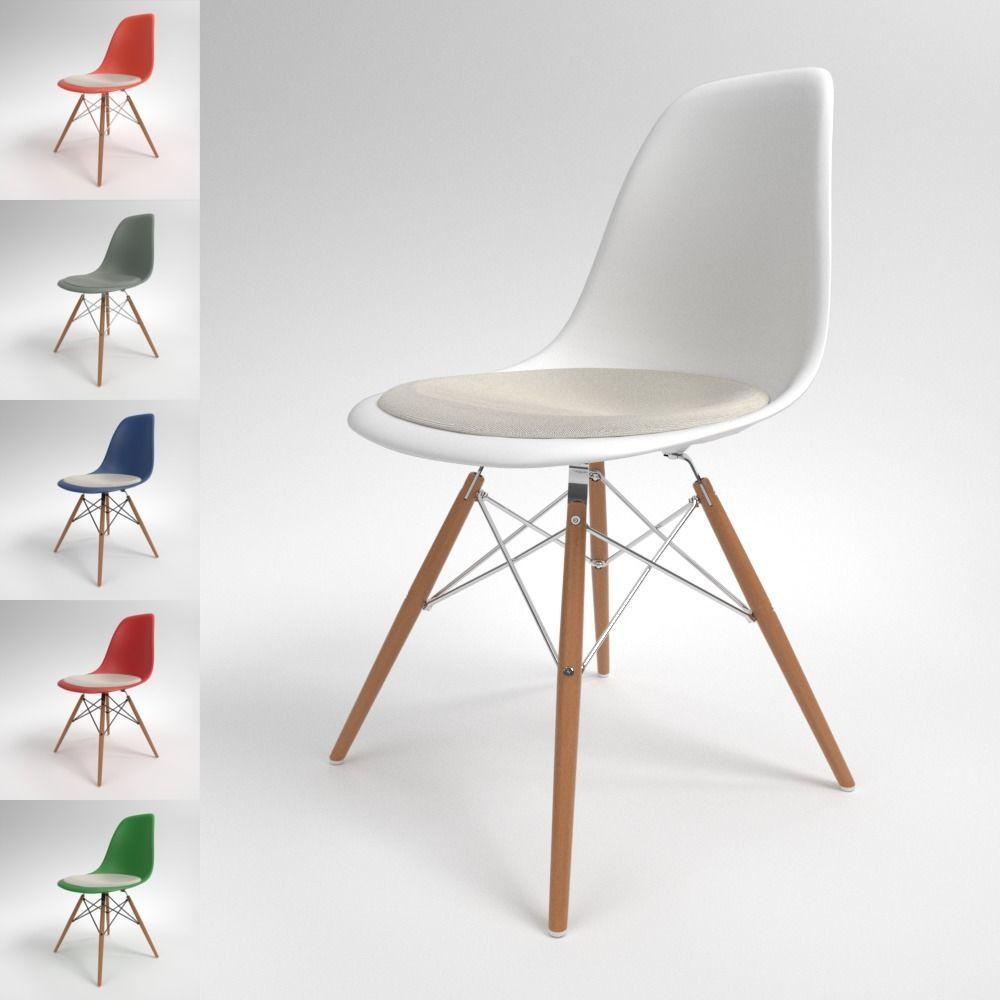 Eames Dsw Vitra Eames Plastic Chair Dsw Blender Cycles 3d Model
