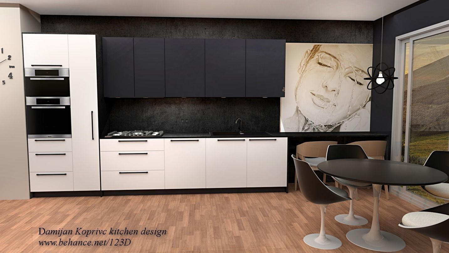 Kitchen Design 3d Model Modern Kitchen In Black And White 3d Model Game Ready