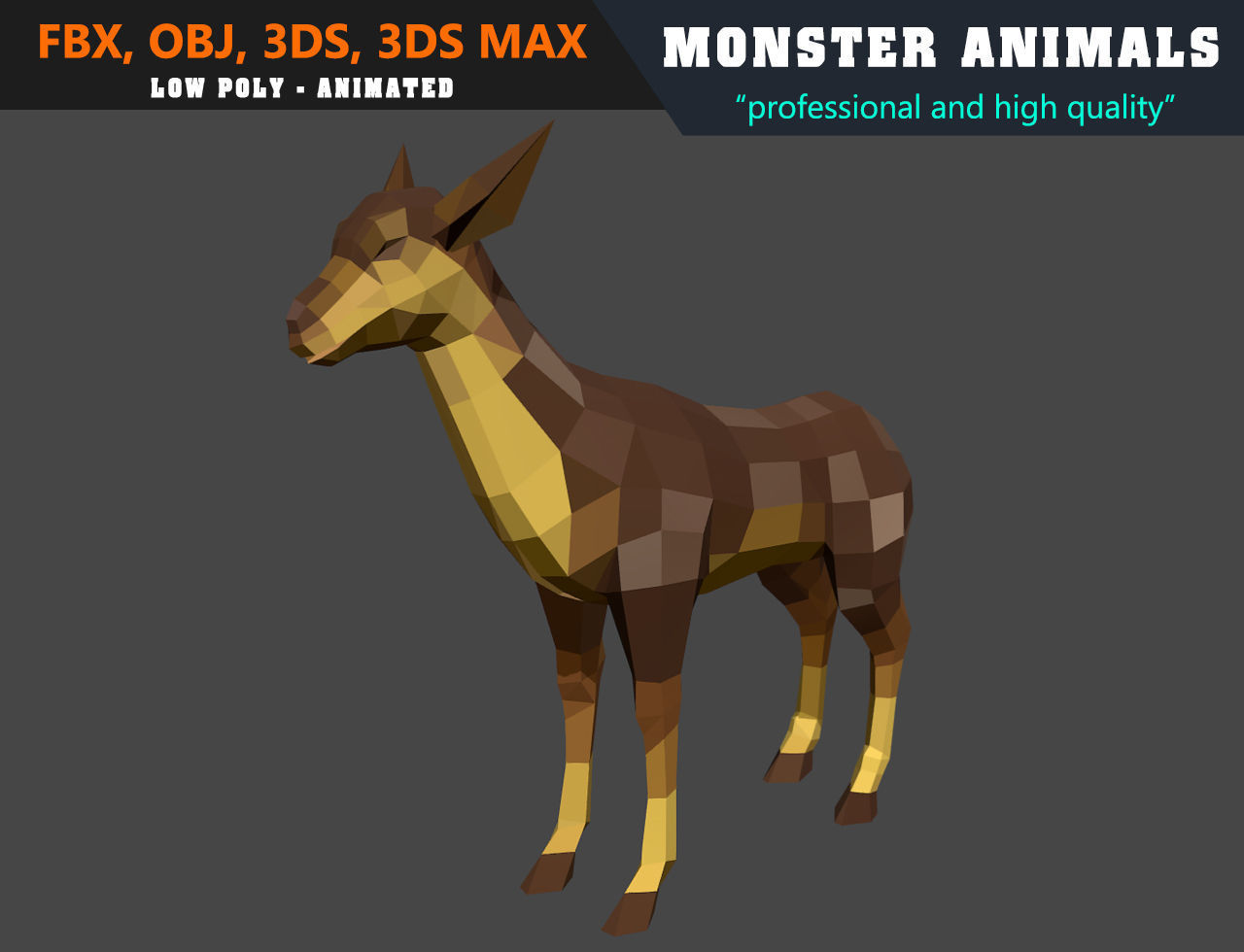 3d Models For Animation Low Poly Deer Cartoon 3d Model Animated Game Ready 3d Model