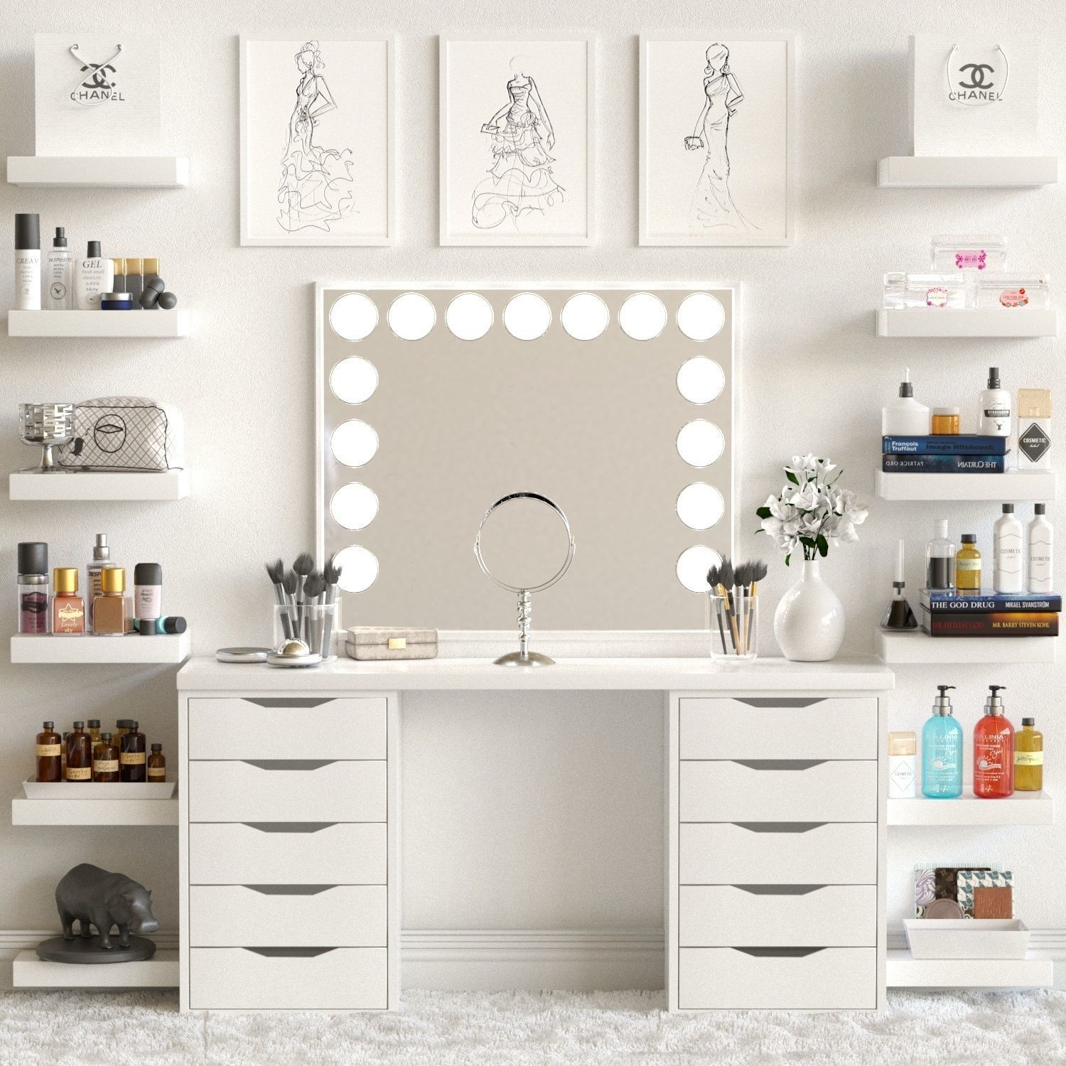 Cosmetic Table Dressing Table With Cosmetics For Lady 3d Model