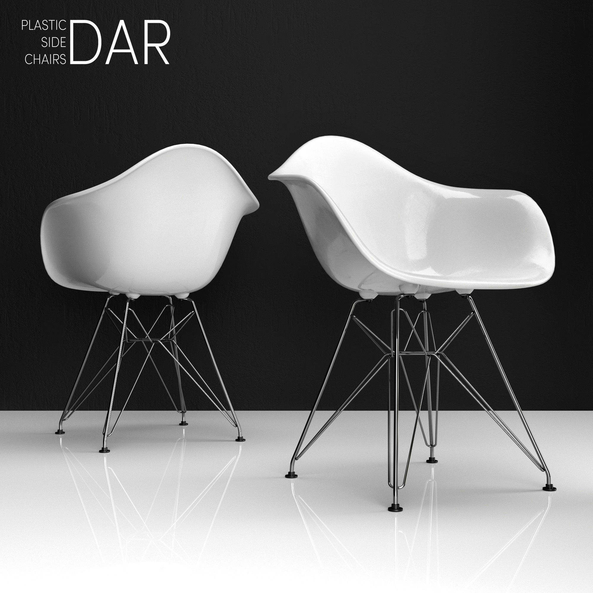 Eames Chair Dar Eames Dar Plastic Side Chair 3d Model