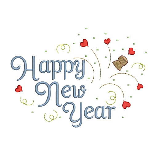 Happy New Year Embroidery Designs, Machine Embroidery Designs at