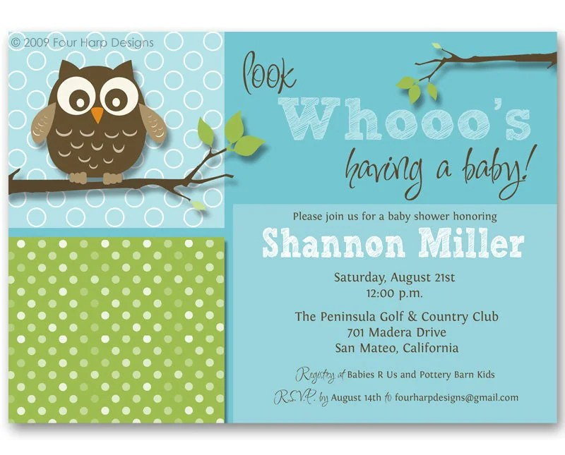 Free Printable Owl Baby Shower Invitations {\ Other Printables - baby shower template
