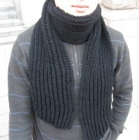 Sale 40 Black Hand Knit Wool Scarf For MEN Best Gift For Him