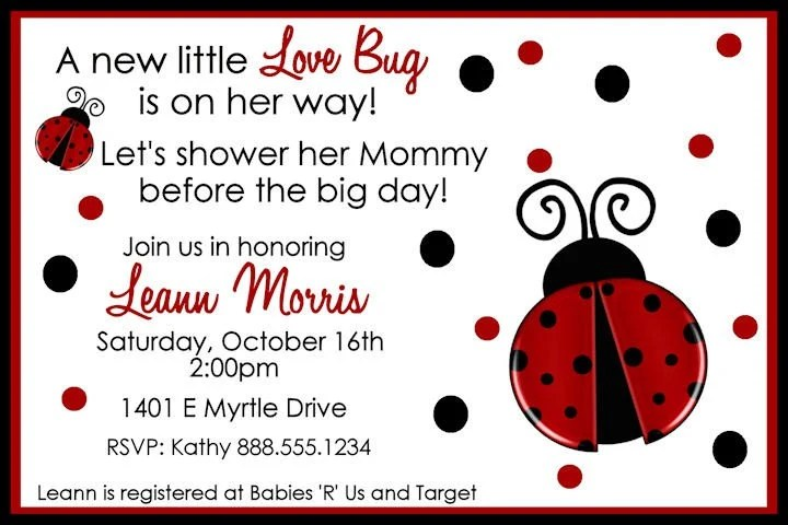 Modern Little Lady Red Ladybug Baby Shower Card Babies - baby shower template