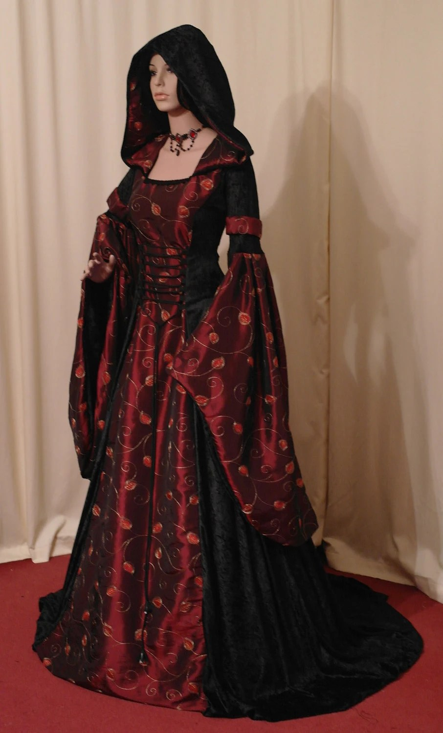 pagan wedding dresses Medieval Gothic Halloween hooded wedding dress very pretty I love the idea of a hooded wedding dress not black though
