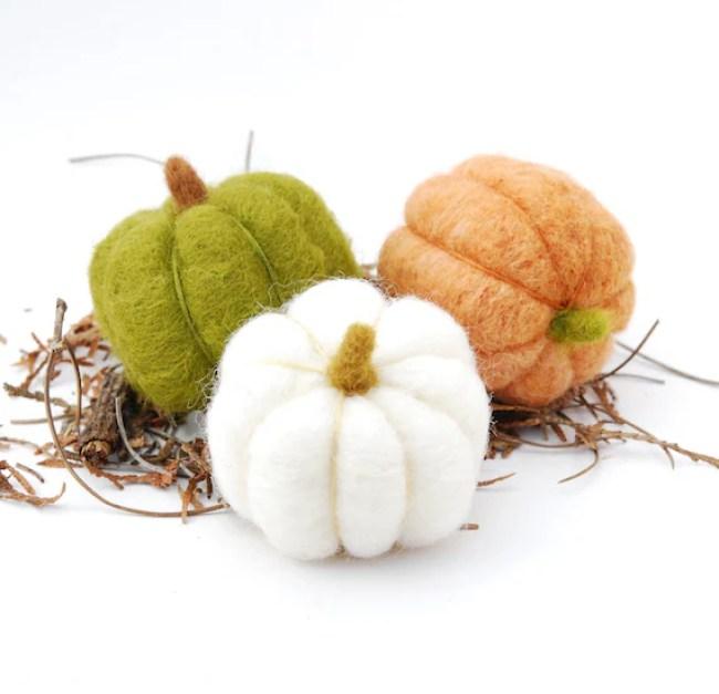 Needle Felted Pumpkins three orange wool autumn fall decor green white