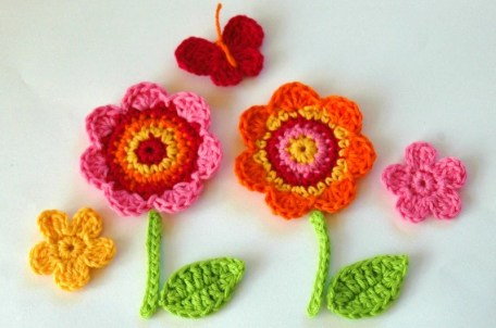 Crochet Flowers with leaves, butterfly and stem -  Crochet Garden Series