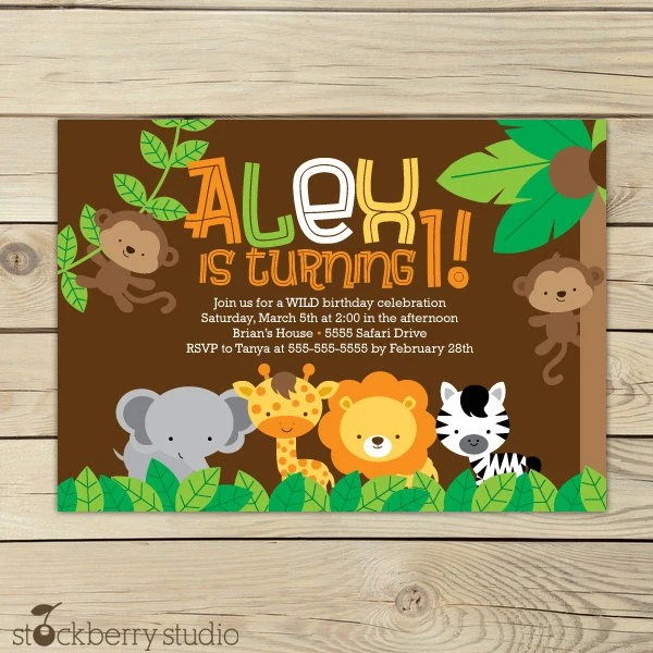 Jungle Friends Girl or Boy Baby Shower or by CherishedTimes, $1400 - best of invitation card for new zoo