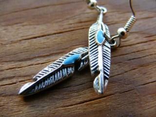 Earrings Silver Feather