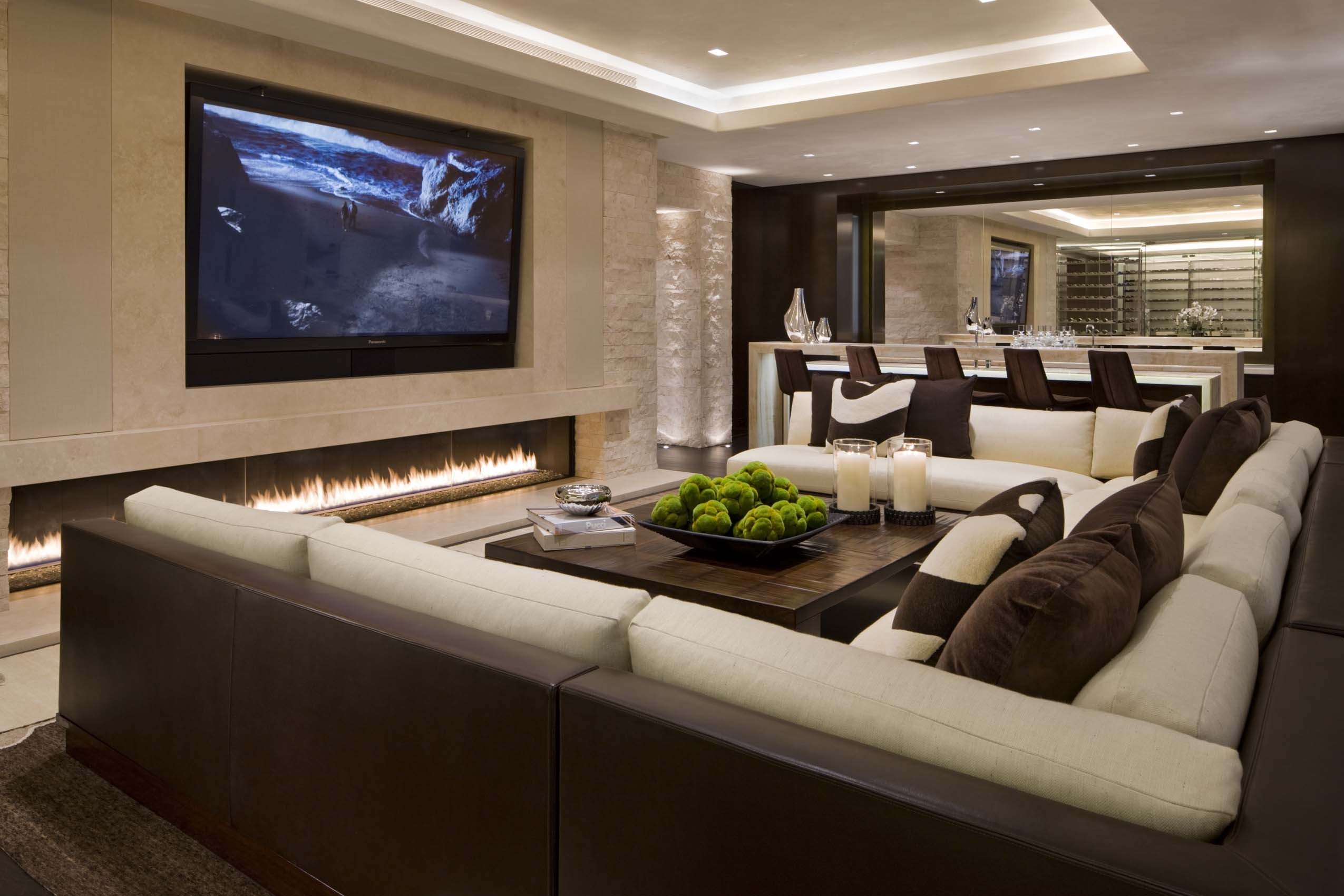 tv on stacked stone fireplace best with ideas brown leather sofa and glass coffee table facing awesome 1