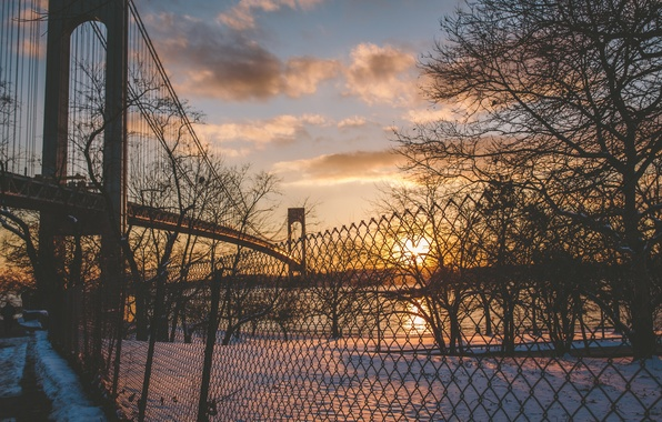 Nyc Iphone Wallpaper Wallpaper Winter The Sun Clouds Snow Sunset River