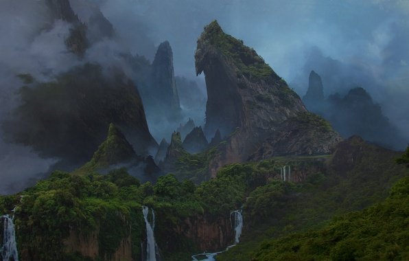 Uncharted Iphone Wallpaper Wallpaper Forest Mountains Island Waterfall The