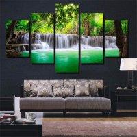 5PCS Waterfall Unframed Landscape Modern Abstract Art Wall ...