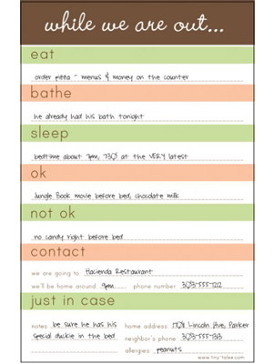 Tiny Tales Babysitter Notes and Daycare Sheets \u2013 Moms  Babies - babysitting information sheets