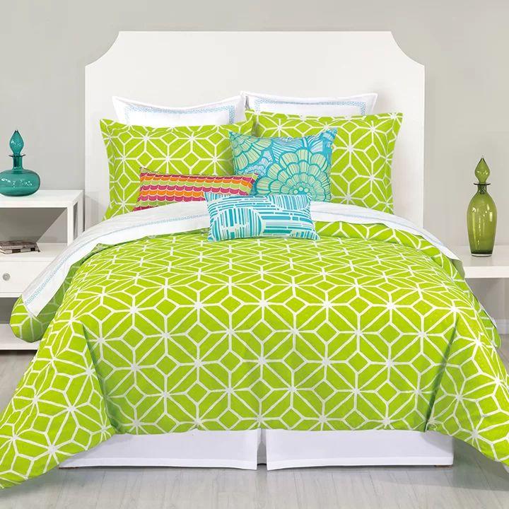 Lime green queen comforter sets trellis lime comforter set