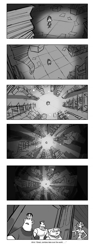 Storyboards of Lucy arm wrestling u201cThe Masked Marvelu201d echo - photography storyboard sample