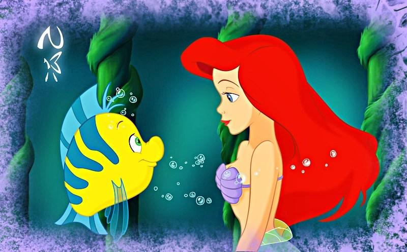 Cute Disney Villains Iphone Wallpaper Image Walt Disney Fan Art Flounder Princess Ariel Walt