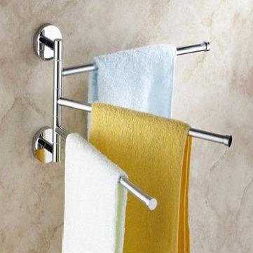 3 Arm Aluminium Towel Rack Wall Mounted Bathroom Swivel
