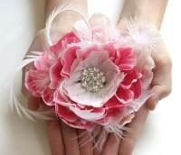 Bridal Hair Flower Pink Bridal Hair Flower by FancieStrands