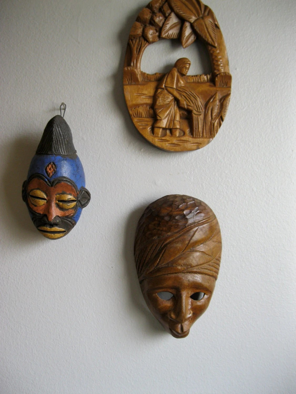 African Wooden Wall Art African Masks Vintage A Pair Of Hand Carved Wooden Small