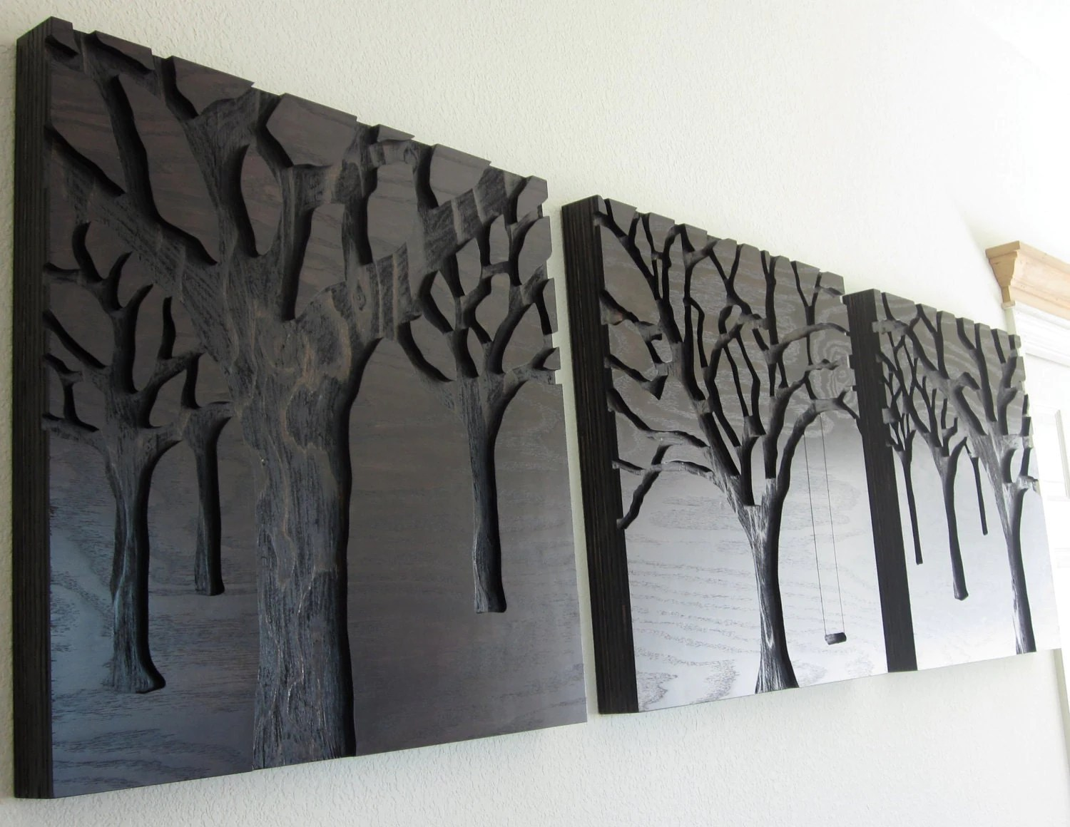 Carved Wood Wall Hanging Modern Wall Art