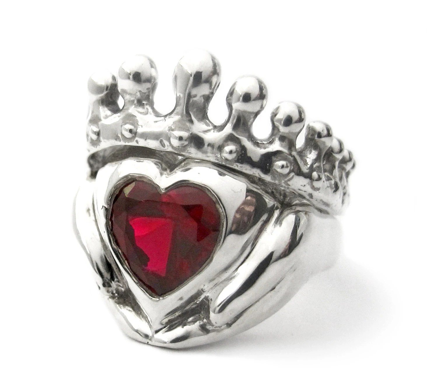 Celtic Engagement Rings Canada claddagh wedding ring set Big Red Heart Claddagh Wedding Set Engagement and wedding ring Celtic