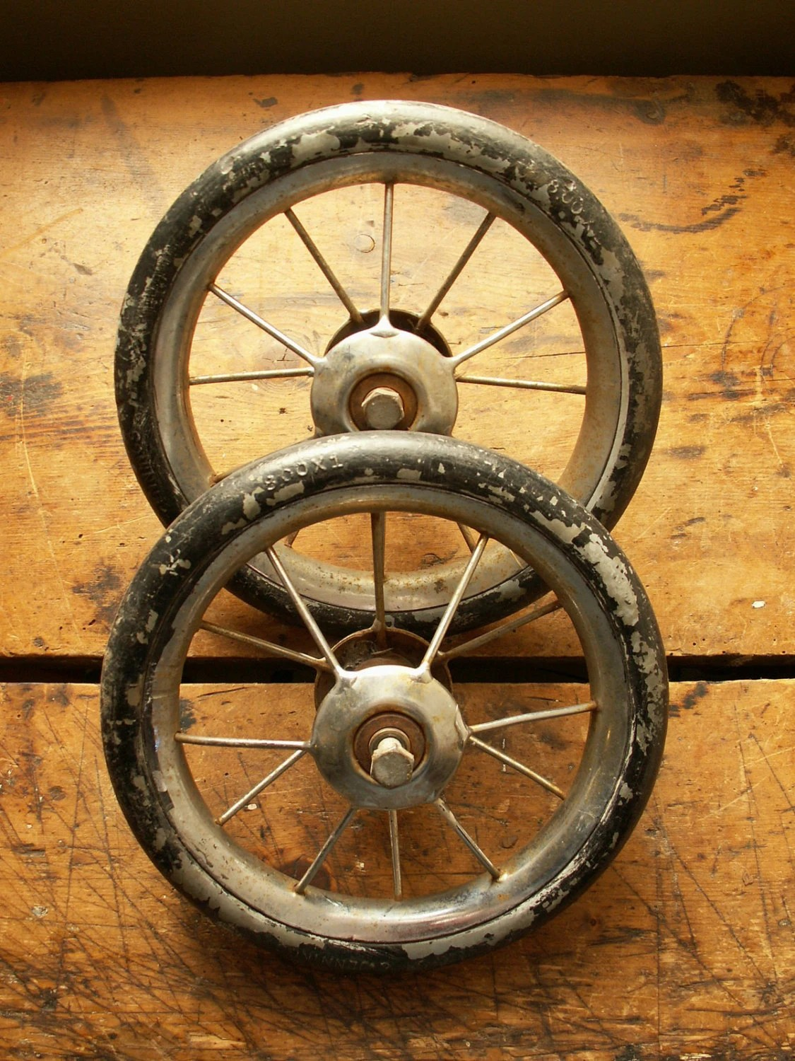 Pair of Vintage Rubber Wire Spoke Wheels