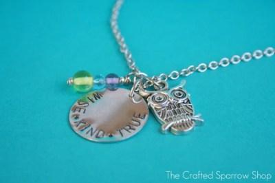 """Handstamped Silver Owl """"Wise.Kind.True"""" Necklace"""