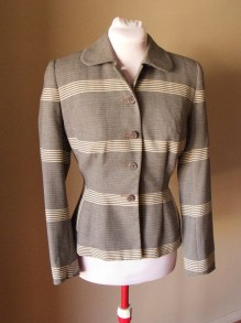 Vintage Late 1940s 'Mornessa' Wasp Waist Striped Ladies Tailored Jacket