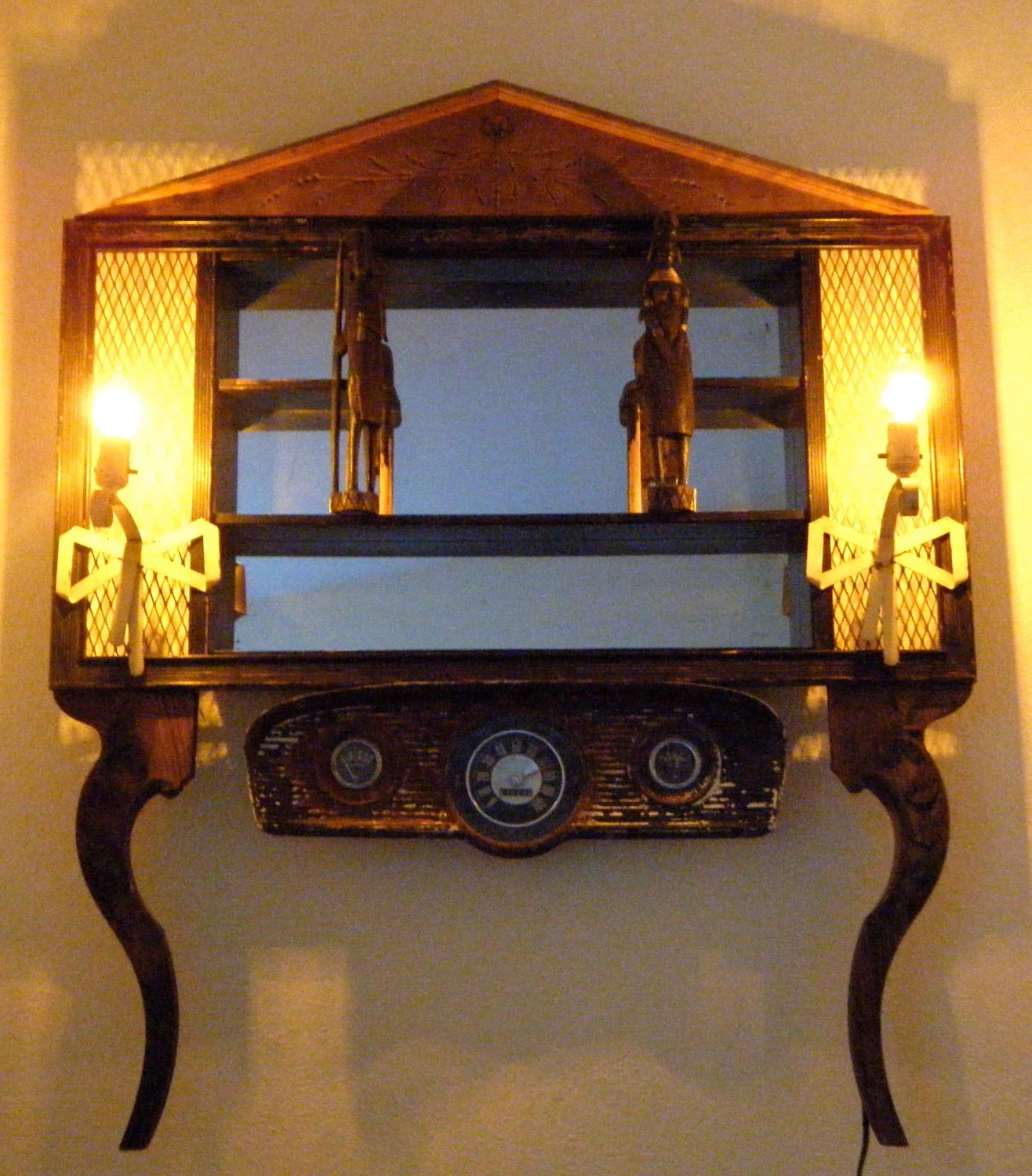 Steampunk Wall Shelves Steampunk Assemblage Bohemian Mirror Wall Shelf With Lamps