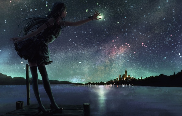 Girls Wallpapers 480x800 Wallpaper The Sky Girl Stars Night The City Lake The