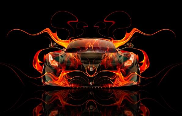 Goodfon Wallpaper Car Wallpaper Auto Black Fire Machine Orange Ferrari