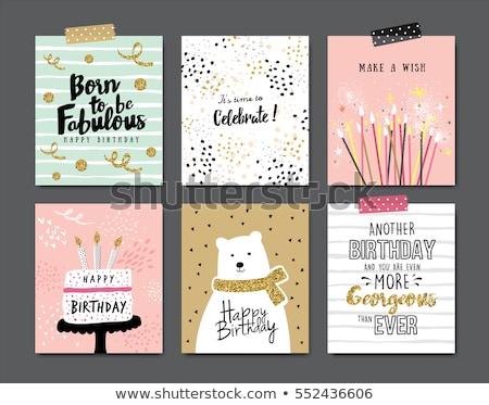 Cartão · postal · aniversário · ilustração · festa · criança
