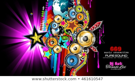 Club Disco Flyer template with Music Elements , Colorful Scalable