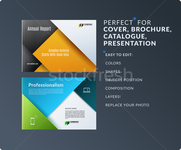 Material design of brochure set, abstract annual report, horizontal