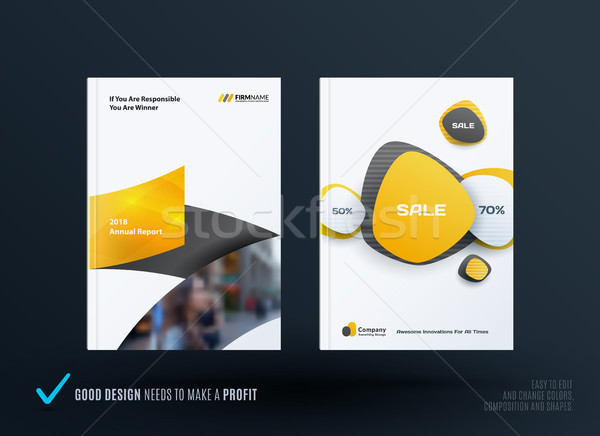 Business set of design brochure, abstract annual report, horizontal
