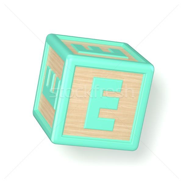 Letter E wooden alphabet blocks font rotated 3D stock photo © Milic
