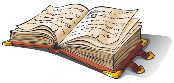 Ancient opened book vector illustration © Sergey Oganesov - opened book