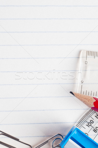 Stationery on Lined Paper Background stock photo © frannyanne