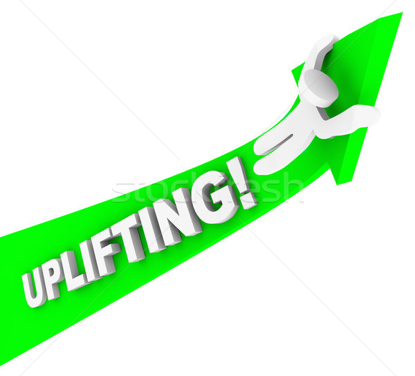 Uplifting Word Person Riding Arrow Achiving Higher Success stock