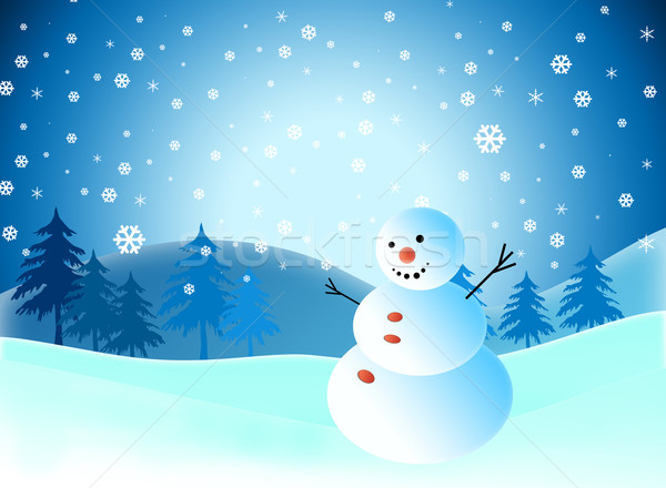 Real Snowflakes Falling Wallpaper Cartoon Snowman On Snow Blue Background Stock Photo