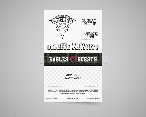 American football team back and front flyer template design Usa