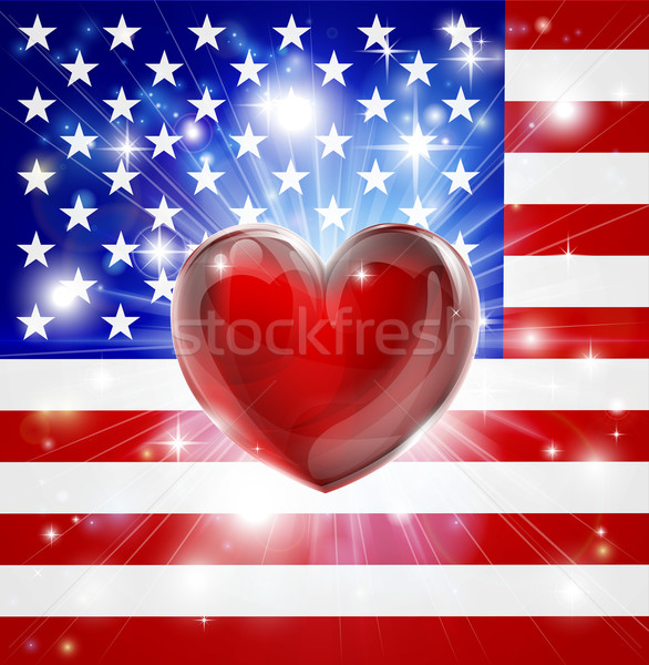 Love America flag heart background vector illustration © Christos - America Flag Background